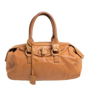 Yves Saint Laurent Caramel Brown Leather Muse Bowler Bag