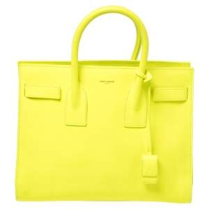 Saint Laurent Neon Green Leather Small Classic Sac De Jour Tote