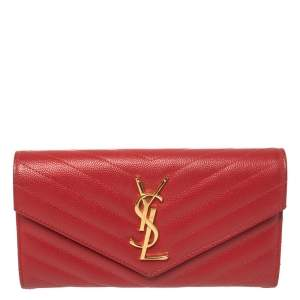 Saint Laurent Red Matelasse Leather Monogram Envelope Wallet