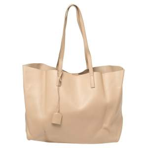 Saint Laurent Beige Leather E/W Shopper Tote