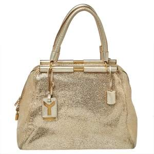 Saint Laurent Metallic Gold Textured Leather Medium Majorelle Tote