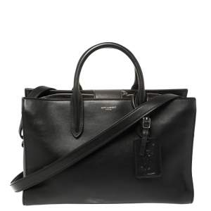 Saint Laurent Black Leather Medium Jane Tote
