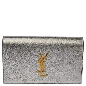 Saint Laurent Metallic Silver Grained Leather Kate Clutch