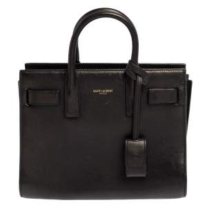 Saint Laurent Black Leather Nano Classic Sac De Jour Tote