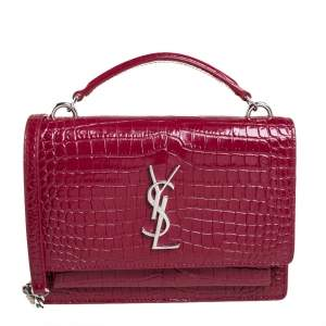 Saint Laurent Red Croc Leather Sunset Crossbody Bag