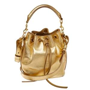 Saint Laurent Metallic Gold Leather Emmanuelle Drawstring Bucket Bag