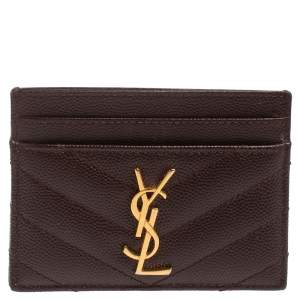 Saint Laurent Maroon Matelasse Leather Monogram Card Holder