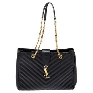 Saint Laurent Black Matelasse Leather Cassandre Shopper Tote