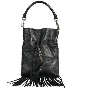 Saint Laurent Black Crocodile-Embossed Leather Anita Fringe Crossbody Bag