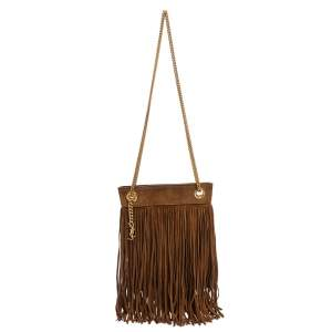 Saint Laurent Brown Suede Grace Fringe Crossbody Bag