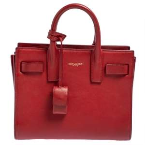 Saint Laurent Red Leather Nano Classic Sac De Jour Tote