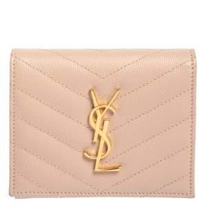 Saint Laurent Nude Pink Matelassé Leather Monogram Trifold Wallet