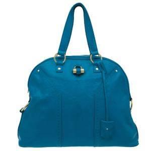 Yves Saint Laurent Turquoise Blue Leather Oversize Muse Satchel