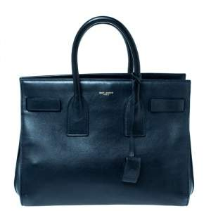 Saint Laurent Midnight Blue Leather Small Classic Sac De Jour Tote