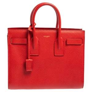 Saint Laurent Red Leather Small Classic Sac De Jour Tote