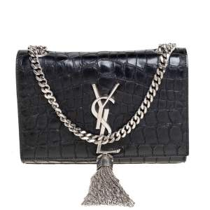 Saint Laurent Black Croc Embossed Leather Small Kate Tassel Crossbody Bag