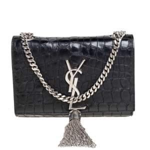 حقيبة كروس سان لوران كيت جلد نقشة التمساح أسود صغيرة بشراشيب