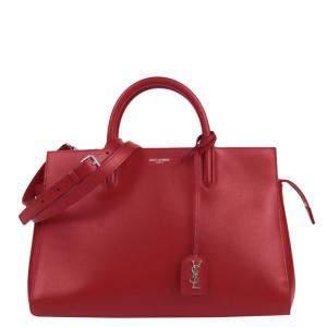 Saint Laurent Paris Red Leather Cabas Rive Gauche Satchel Bag