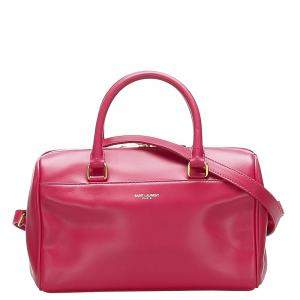 Saint Laurent Paris Red Leather Classic Baby Duffle Bag