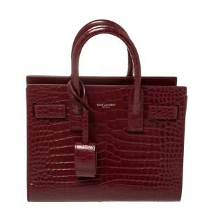 Saint Laurent Burgundy Croc Embossed Leather Nano Classic Sac De Jour Tote