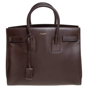 Saint Laurent Brown Leather Small Classic Sac De Jour Tote