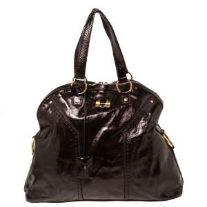 Saint Laurent Brown Patent Leather Large Muse Bag