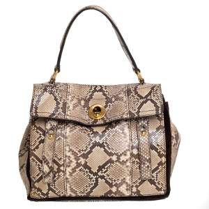 Saint Laurent Brown/Beige Python Leather Medium Muse Two Satchel
