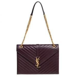 Saint Laurent Burgundy Matelasse Leather Large Cassandre Flap Bag