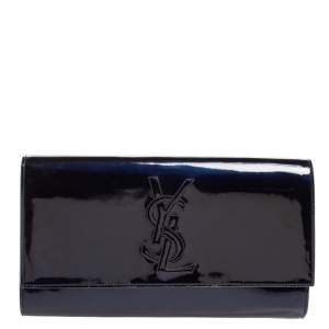 Yves Saint Laurent Blue Patent Leather Belle De Jour Flap Clutch