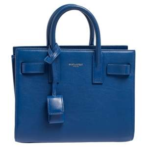 Saint Laurent Electric Blue Leather Nano Classic Sac De Jour Tote
