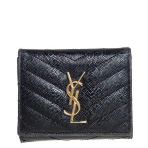 Saint Laurent Black Matelasse Leather Monogram Trifold Wallet