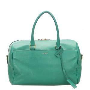 Saint Laurent Paris Green Calf Leather Classic Duffle 6 Shoulder Bag