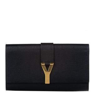 Saint Laurent Paris Black Calf Leather Chyc Clutch Bag
