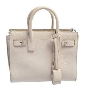 Saint Laurent Off White Leather Nano Classic Souple Sac De Jour Tote