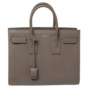 Saint Laurent Grey Leather Small Classic Sac De Jour Tote