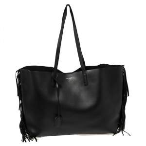 Saint Laurent Black Leather Fringe Large Shopper Tote