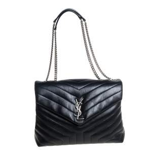 Saint Laurent Black Matelasse Leather Medium Loulou Shoulder Bag