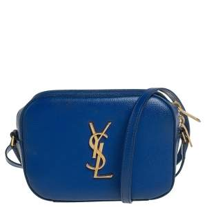 Saint Laurent Blue Grained Leather Mini Monogram Camera Bag