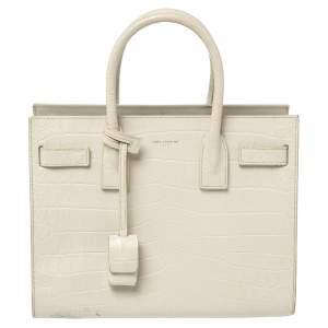 حقيبة يد سان لوران بيبي كلاسيك ساك دي جور جلد نقش التمساح أبيض