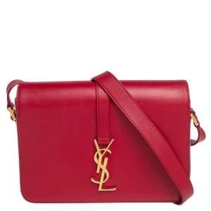 Saint Laurent Red Smooth Leather Medium Monogram Universite Shoulder Bag