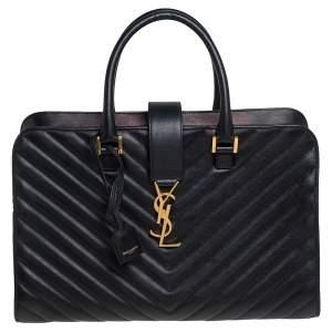 حقيبة يد سان لوران كاباس جلد ماتيلاس مونوغرامي أسود متوسطة