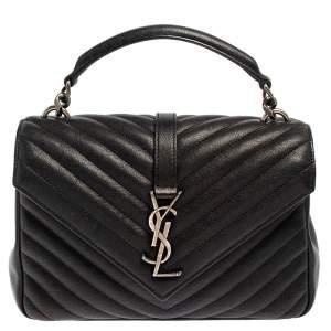 حقيبة سان لوران كوليدج جلد أسود نفط شيفرون مبطن بيد علوية