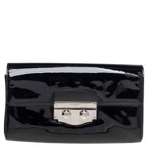 Saint Laurent Black Patent Leather Pushlock Flap Clutch