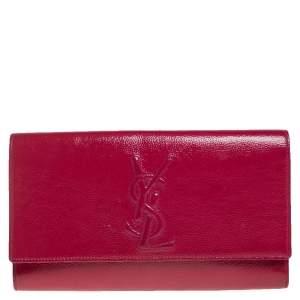 Yves Saint Laurent Fuchsia Patent Leather Belle De Jour Flap Clutch