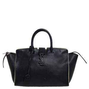 حقيبة يد توتس سان لوران داونتاون كاباس صغيرة جلد أسود
