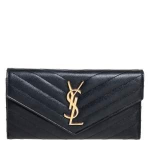 محفظة سان لوران جلد ماتيلاس أسود مونوغرامي