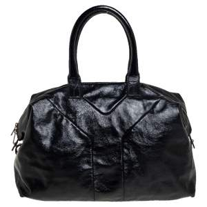 حقيبة ساتشل سان لوران إيزي واي جلد أسود لامع