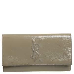 Yves Saint Laurent Beige Patent Leather Belle De Jour Flap Clutch