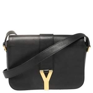 حقيبة كتف سان لوران شيك جلد أسود ذات قلاب متوسطة