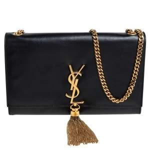 Saint Laurent Black Leather Medium Kate Tassel Shoulder Bag